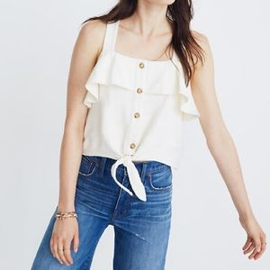 Madewell • Texture & Thread Ruffle Tie Front Tank